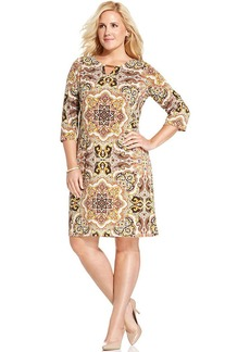 Charter Club Plus Size Paisley-Print Keyhole Dress