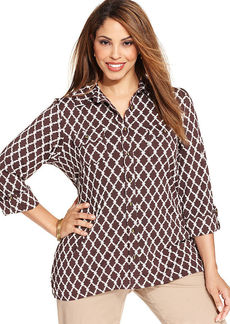 Charter Club Plus Size Printed Utility Shirt