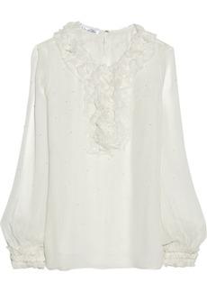 Oscar de la Renta Embellished silk-chiffon top