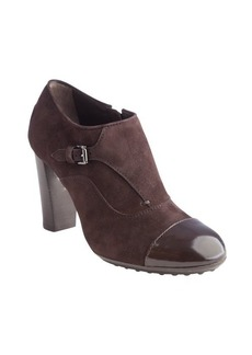 Tod's chocolate suede cap toe stacked heel booties