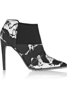 Tibi Kirby printed canvas and neoprene ankle boots