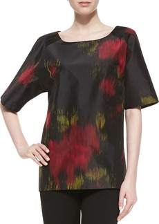 Michael Kors Short-Sleeve Printed Silk Radzimir Tunic