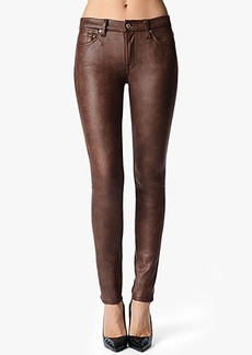 The Seamed Skinny in Crackled Leather-Like Wine