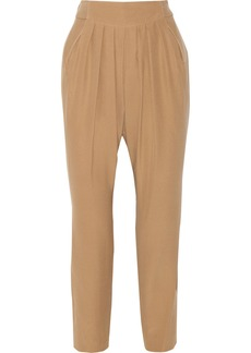 Chloé Pleated silk crepe de chine tapered pants