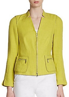 Lafayette 148 New York Haley Linen Leather-Trim Jacket