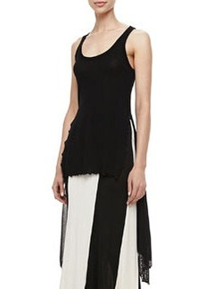 Jean Paul Gaultier Sheer High-Low Solid Tank, Black