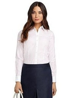 Non-Iron Tailored Fit Wide Stripe Dress Shirt
