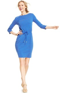 Charter Club Petite Three-Quarter-Sleeve Striped Drawstring Dress