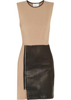 3.1 Phillip Lim Leather-paneled wool-blend mini dress