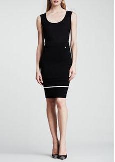 Escada Contrast-Trim Pencil Skirt, Black/White