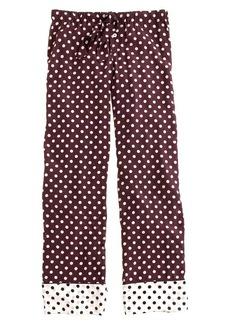 Silk pajama pant in colorblock dot