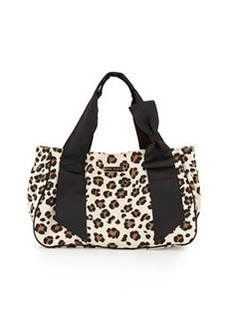 Betsey Johnson Ribbons & Bows Canvas Tote, Leopard Print/Black