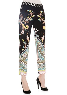 Etro Paisley Printed Ankle Pants, Black