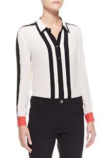 Escada Striped Button-Down Blouse, White/Black