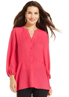 Style&co. Button-Front Peplum Blouse