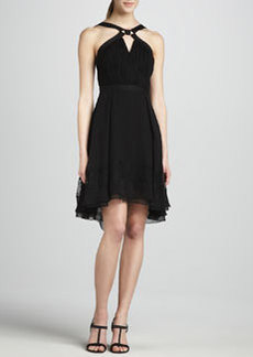 JASON WU Halter Dress with Hi-Lo Flounce Hem