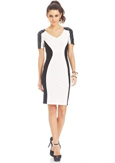 XOXO Colorblocked Faux-Leather Pencil Dress