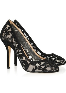 Oscar de la Renta Moss lace and satin pumps