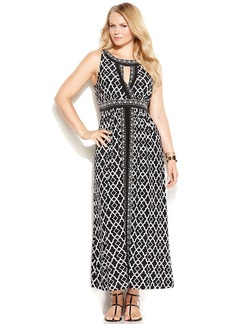 INC International Concepts Plus Size Printed Halter Maxi Dress