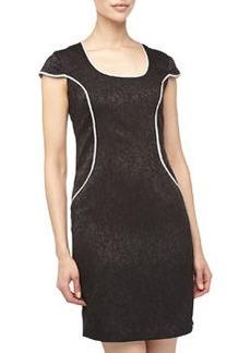 Marc New York by Andrew Marc Printed Jacquard Sheath Dress, Black