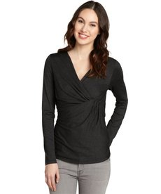 Lafayette 148 New York smoke grey ruched front pleated drape v-neck