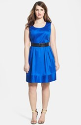 Calvin Klein Belted Stretch Cotton Fit & Flare Dress (Plus Size)