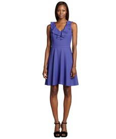 Marc New York violet ruffled sleeveless flounce dress