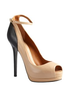 Fendi black and tan embossed leather peeptoe platform pumps