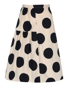 "MARNI Skirt in poplin. ""Ink Dots"" print. Placed, polka-dotted print. Closure by means of a concealed zipper at the back. Gather detail below the waist to the right. No pockets."