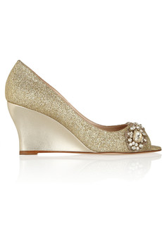 Oscar de la Renta Zataem glitter-finished leather wedge pumps