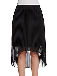 Saks Fifth Avenue BLACK Pleated Hi-Lo Skirt