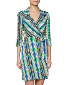 Laundry By Design Dotted Stripe Print Wrap Dress, Snapple