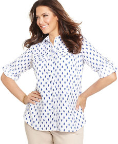 Charter Club Plus Size Linen Printed Utility Shirt