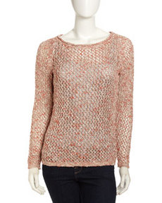 Lafayette 148 New York Open Knit Sweater, Coral Multi