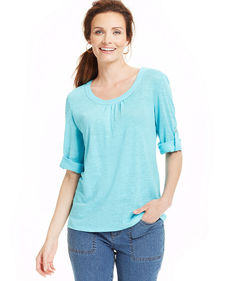 Charter Club Three-Quarter-Sleeve Roll-Tab Linen Tee