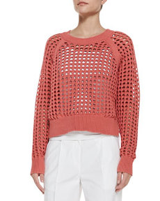 Lattice-Stitch Cropped Knit Sweater   Lattice-Stitch Cropped Knit Sweater