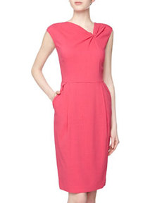 Lafayette 148 New York Asymmetric Knot Front Crepe Dress, Petunia