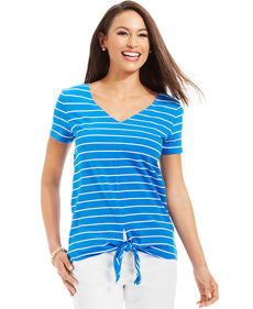 Jones New York Signature Petite Short-Sleeve Striped Front-Tie Top
