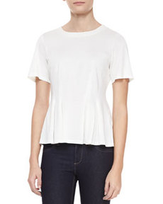 Rebecca Taylor Mercerized Short-Sleeve Pleated Top, Chalk