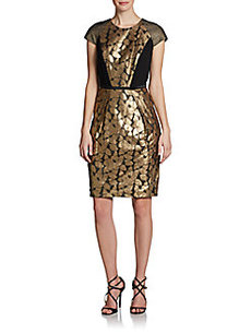 Carmen Marc Valvo Cap-Sleeve Metallic Lace Cocktail Dress