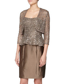 Kay Unger New York Three-Quarter-Sleeve Scalloped Sequin Lace Shrug, Bronze