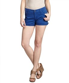 James Jeans royal blue stretch denim 'Shorty' frayed shorts