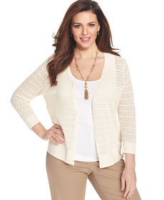 Jones New York Collection Plus Size Long-Sleeve Lace Cardigan