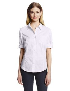 Jones New York Women's Fitted Roll Elbow Sleeve Shirt