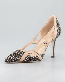 Manolo Blahnik Lisol Calf Hair Cutout Single-Sole Pump, Brown/Multi