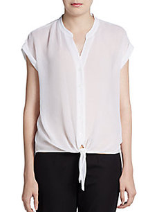 Ellen Tracy Sheer Tie-Front Top