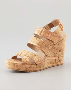 Donald J Pliner Gretel Cork Wedge Sandal, Gold/Natural