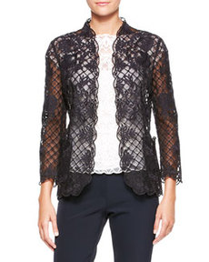 Escada Silk Lace Long-Sleeve Jacket, Black