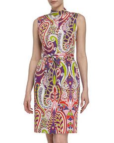 Lafayette 148 New York Paisley Self-Belted Sundress