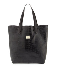 Christian Lacroix Charlene Croc-Embossed Tote Bag, Black